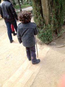 The adorable little boy who led us to the end of the maize (note his walking stick). GRACIAS!