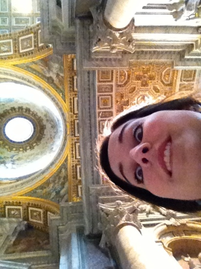 The result of touring places alone...just me and St. Peters Basilica!